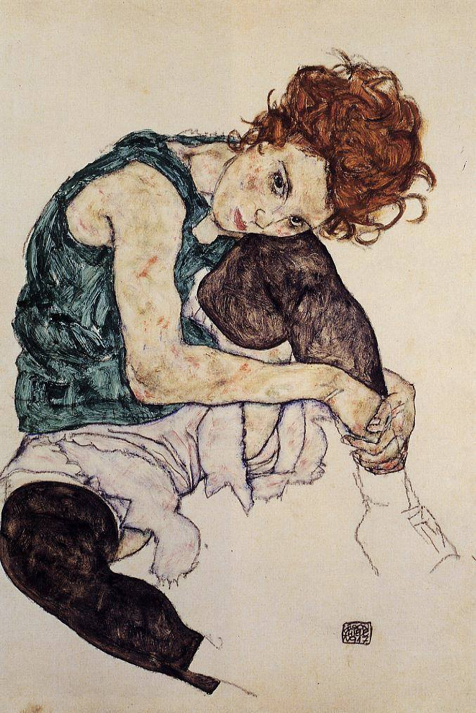 Egon Schiele-Seated women with bent knee,1917 (Although Egon was an apprentice of Gustav Klimt he took a different approach with his art,he was quit controversial at his time for his nud