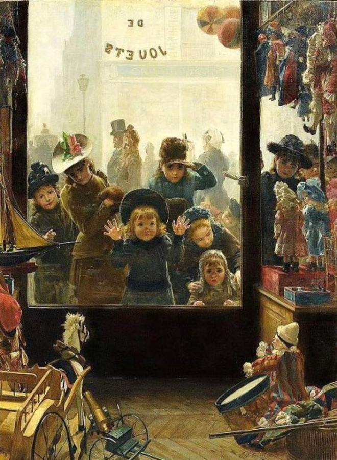 Timoléon Marie Lobrichon, the toy shop showcase, 1880.